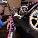 Bob Haro Signs one of five existing pink Haro Sports. It was in mint condition. Travis Goin also brought in his battleworn 85 pink master., also one of five.