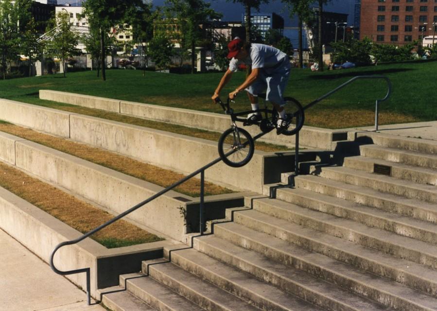 Basic Bikes Team Rider Jason Enns // Grinding a handrail