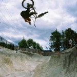 Matty Aquizap // One-Handed Tabletop Corner Air // West Linn Skatepark // West Linn, OR // By Shad Johnson