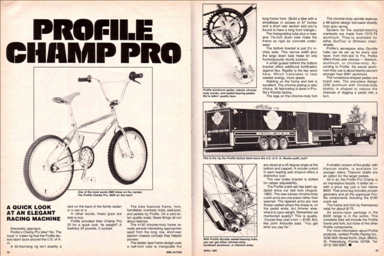 Profile Champ Pro // BMX Action // April 1983