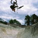 Matty Aquizap // One-Handed Tabletop Corner Air // West Linn Skatepark // West Linn, OR // By Shad Johnson